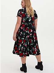 Super Soft Black Floral Skater Midi Dress, FLORAL - BLACK, alternate