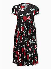 Super Soft Black Floral Skater Midi Dress, FLORAL - BLACK, hi-res