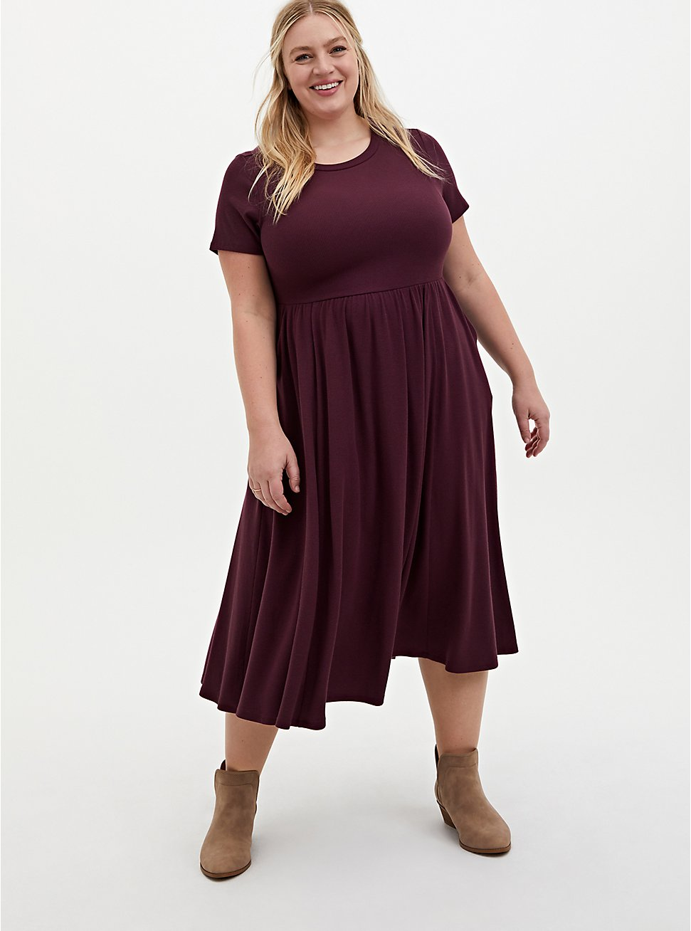 Burgundy Purple Rib Midi Dress, WINETASTING, hi-res