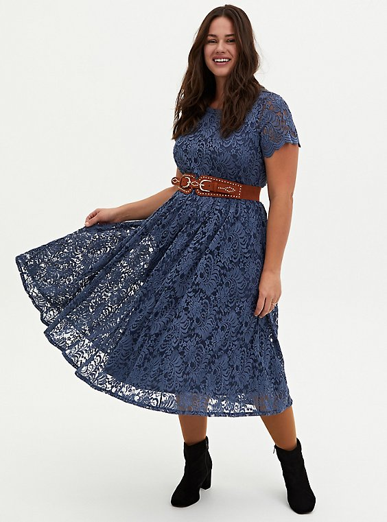 Vintage Indigo Lace Midi Dress, , hi-res