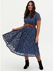 Vintage Indigo Lace Midi Dress, VINTAGE INDIGO, hi-res