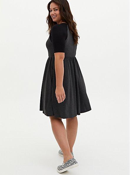 Charcoal Grey Jersey Raglan Skater Dress, CHARCOAL  BLACK, alternate