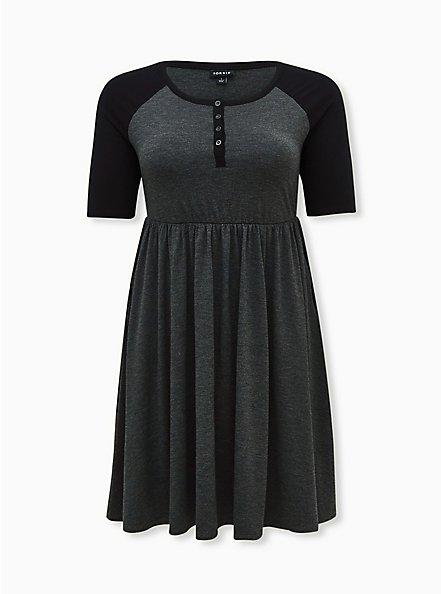 Charcoal Grey Jersey Raglan Skater Dress, CHARCOAL  BLACK, hi-res