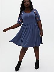 Vintage Indigo Floral Jersey Raglan Skater Dress, VINTAGE INDIGO, alternate