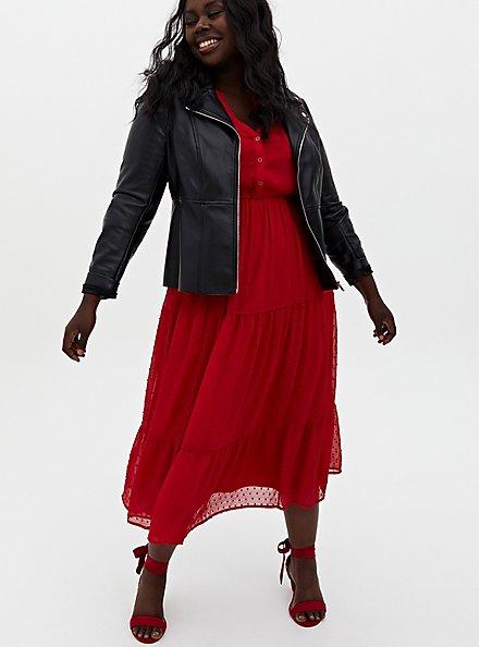Red Chiffon Clip Dot Skater Tea-Length Dress, JESTER RED, alternate