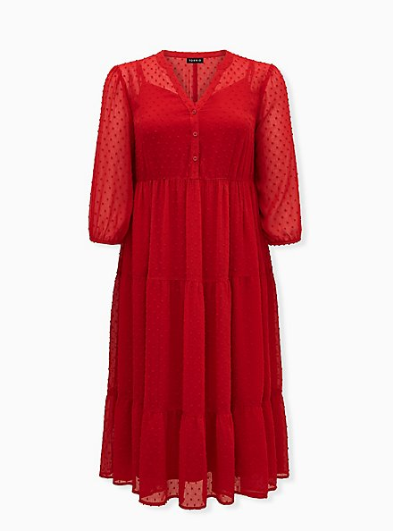 Red Chiffon Clip Dot Skater Tea-Length Dress, JESTER RED, hi-res