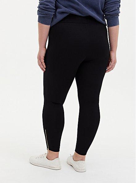 Studio Ponte Slim Fix Black Zip Hem Pixie Pant, DEEP BLACK, alternate