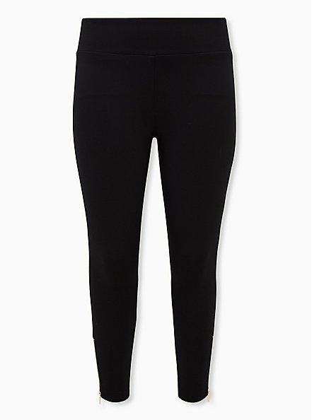 Studio Ponte Slim Fix Black Zip Hem Pixie Pant, DEEP BLACK, hi-res