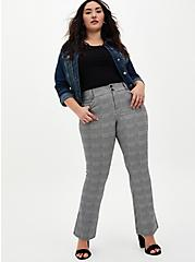 Black & White Plaid Premium Ponte Trouser, PLAID - BLACK, alternate