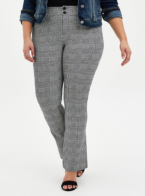 Black & White Plaid Premium Ponte Trouser, PLAID - BLACK, hi-res