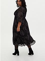 Black Floral Clip Dot Tiered Tea-Length Dress, FLORAL - BLACK, alternate