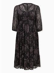 Black Floral Clip Dot Tiered Tea-Length Dress, FLORAL - BLACK, hi-res