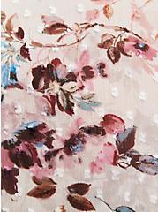 Ivory Floral Chiffon Clip Dot Skater Dress, FLORAL - IVORY, alternate