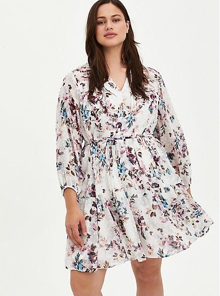 Ivory Floral Chiffon Clip Dot Skater Dress, FLORAL - IVORY, hi-res