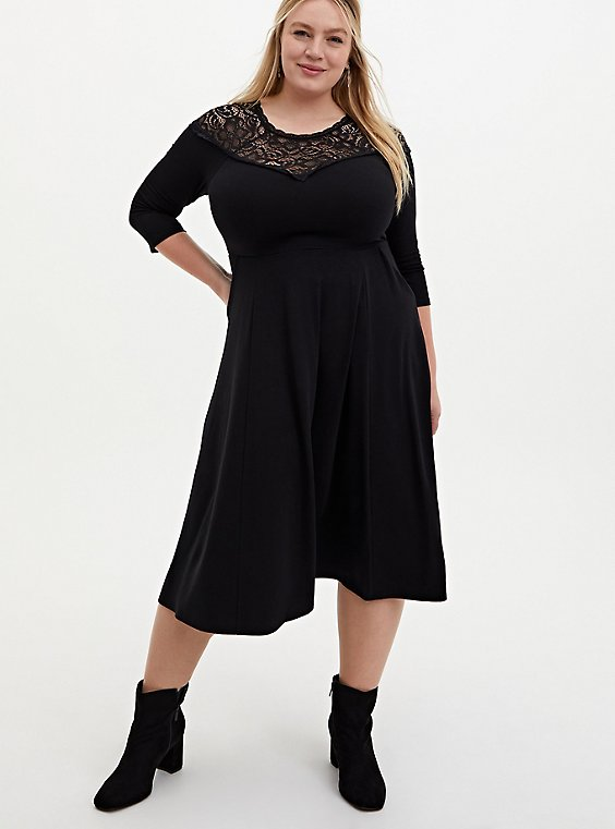 Super Soft & Lace Yoke Black Midi Dress, DEEP BLACK, hi-res