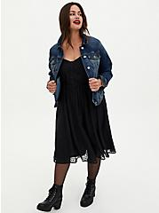 Black Heart Chiffon Button Midi Dress, HEARTS - BLACK, alternate