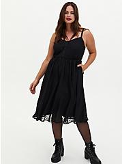 Black Heart Chiffon Button Midi Dress, HEARTS - BLACK, hi-res