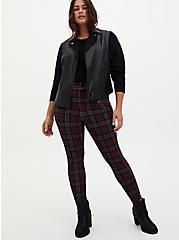 Plus Size Studio Signature Burgundy Purple Plaid Ponte Skinny Ankle Trouser, PLAID - PURPLE, alternate