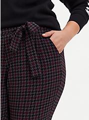 Multi Houndstooth Crepe Self-Tie Tapered Pant , PLAID, alternate