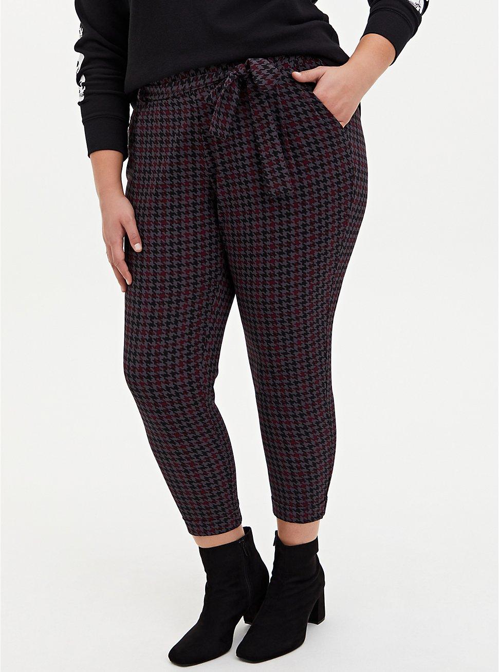 Plus Size Multi Houndstooth Crepe Self-Tie Tapered Pant , PLAID, hi-res