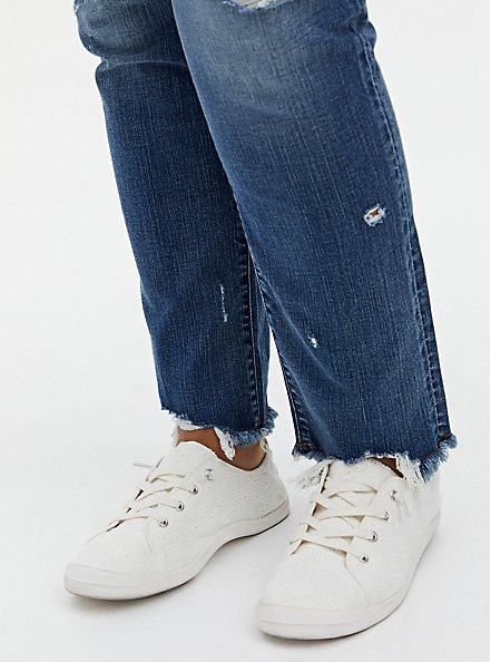 Boyfriend Straight Jean - Vintage Stretch Medium Wash With Distressed Hem, RUM AND COKE, alternate