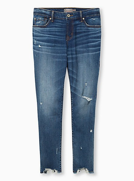 Boyfriend Straight Jean - Vintage Stretch Medium Wash With Distressed Hem, RUM AND COKE, hi-res
