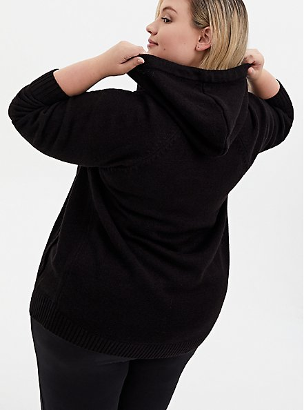 Black Open Stitch Zip Hoodie, DEEP BLACK, alternate