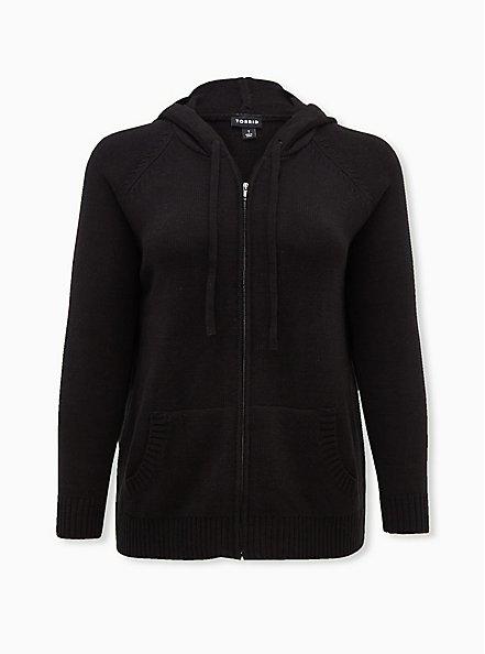 Black Open Stitch Zip Hoodie, DEEP BLACK, hi-res
