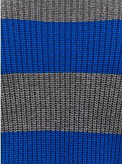 Royal Blue & Grey Stripe Pointelle Sweater , MULTI STRIPE, alternate