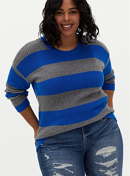 Royal Blue & Grey Stripe Pointelle Sweater , MULTI STRIPE, hi-res