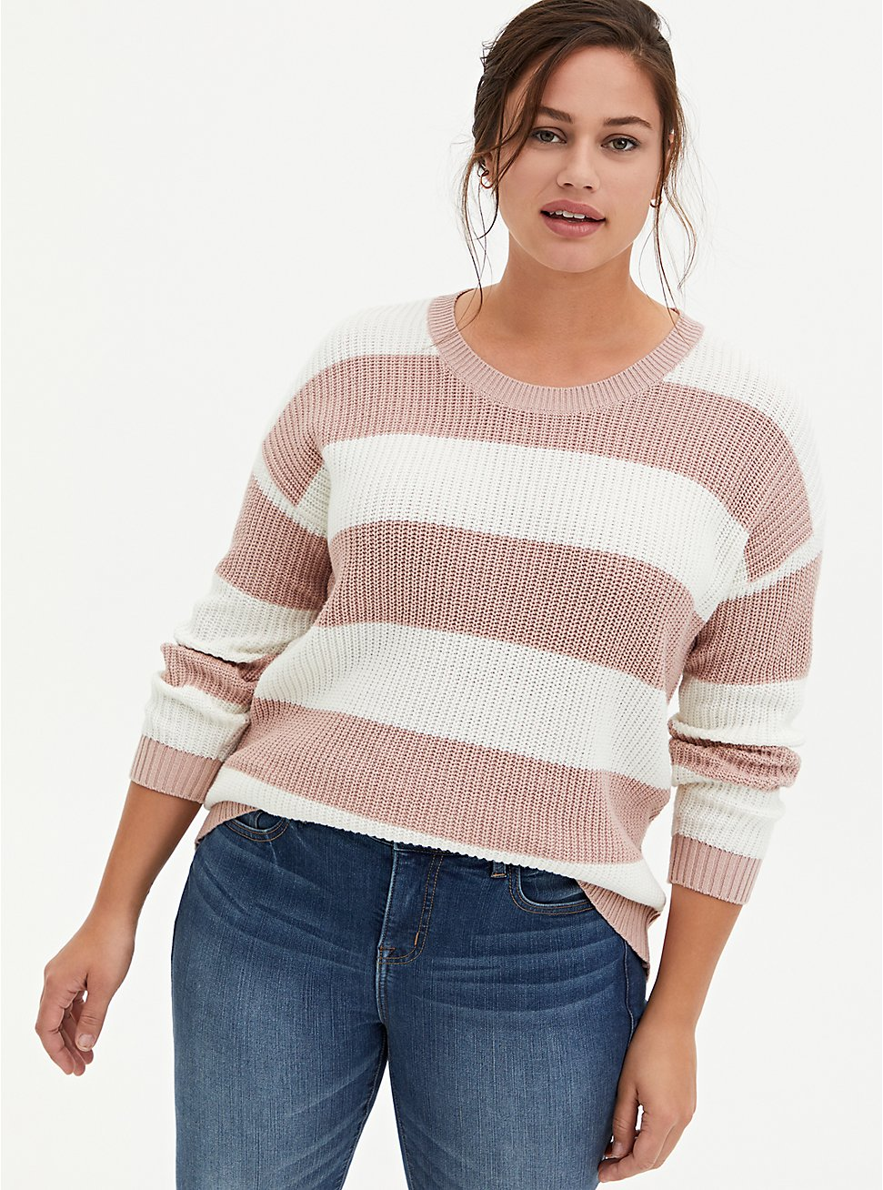 Light Pink & Ivory Stripe Pointelle Sweater , MULTI STRIPE, hi-res