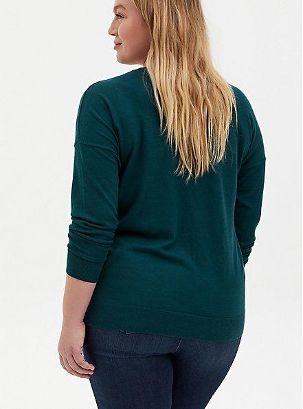 Teal Drop Shoulder Pullover Sweater, JUNEBUG, alternate