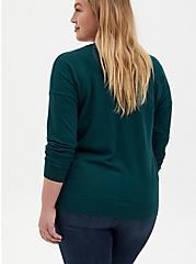Teal Drop Shoulder Pullover Sweater, JUNEBUG, alternate