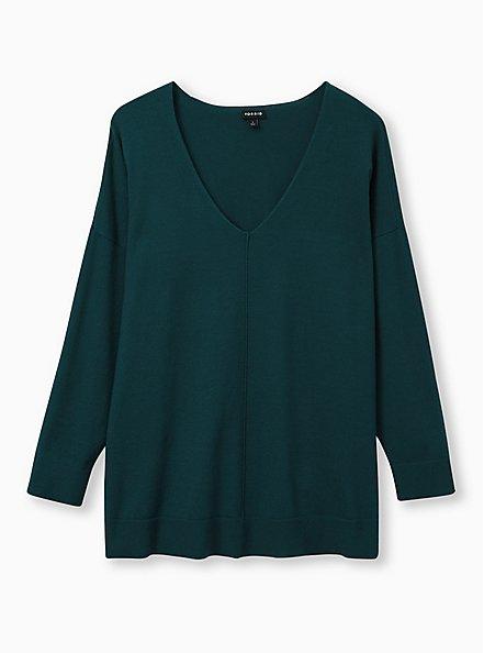 Teal Drop Shoulder Pullover Sweater, JUNEBUG, hi-res
