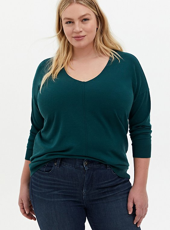 Teal Drop Shoulder Pullover Sweater, JUNEBUG, hi-res