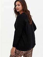 Black Drop Shoulder Pullover Sweater, DEEP BLACK, alternate