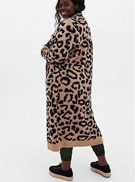 Leopard Collar Longline Sweater Coat, LEOPARD, alternate