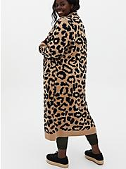 Leopard Collar Longline Sweater Coat, LEOPARD, alternate