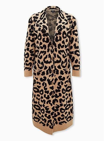 Leopard Collar Longline Sweater Coat, LEOPARD, hi-res