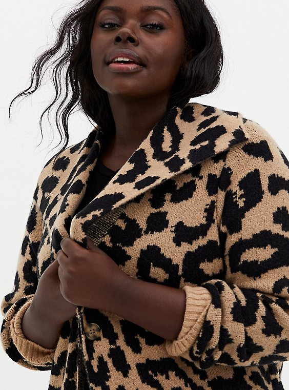 Leopard Collar Longline Sweater Coat, LEOPARD, hi-res