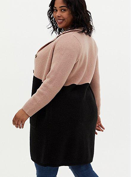 Beige & Black Colorblock Button Front Sweater Coat, DEEP BLACK, alternate