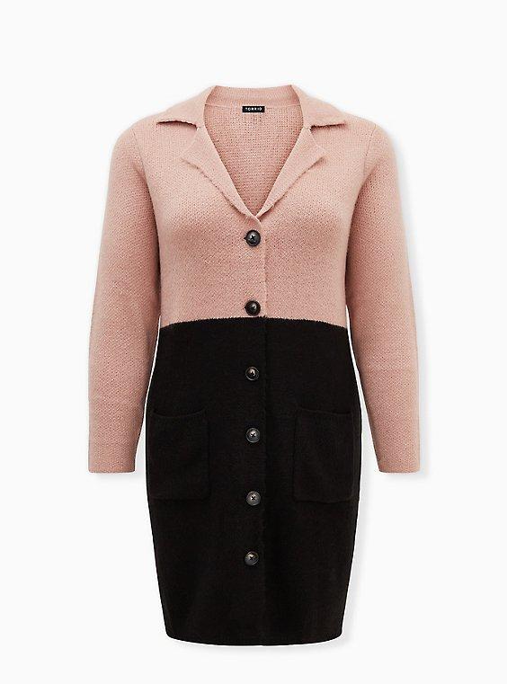 Beige & Black Colorblock Button Front Sweater Coat, , flat