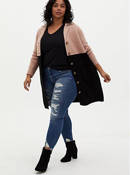 Beige & Black Colorblock Button Front Sweater Coat, DEEP BLACK, hi-res