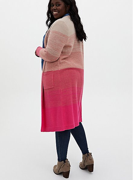 Pink Ombre Stripe Slouchy Duster Sweater, PINK OMBRE, alternate