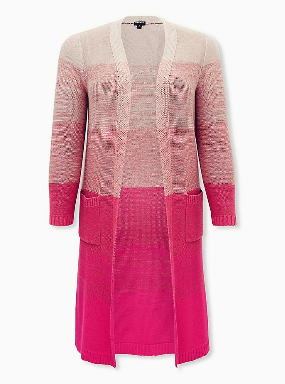 Pink Ombre Stripe Slouchy Duster Sweater, , flat