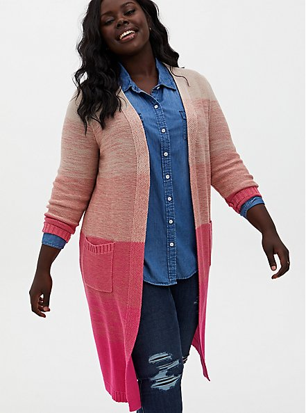 Plus Size Pink Ombre Stripe Slouchy Duster Sweater, PINK OMBRE, hi-res