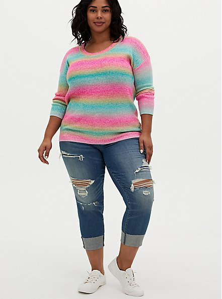 Rainbow Open Stitch Sweater Tunic, MULTI STRIPE, alternate