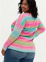 Rainbow Open Stitch Sweater Tunic, MULTI STRIPE, alternate