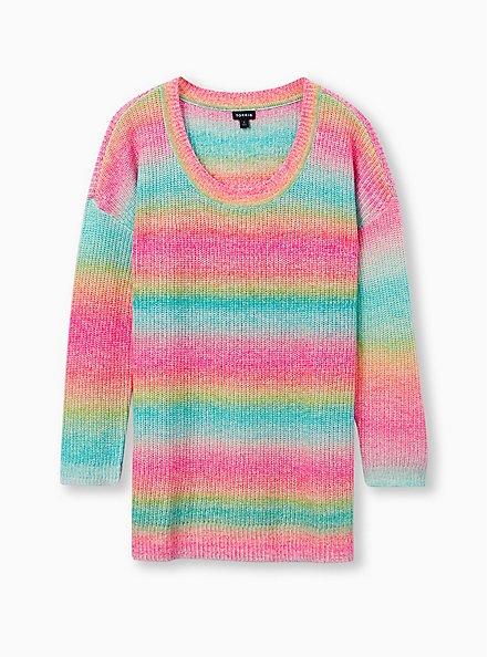 Rainbow Open Stitch Sweater Tunic, MULTI STRIPE, hi-res