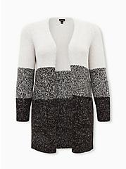 Grey Colorblock Open Stitch Open Front Cardigan, MULTI STRIPE, hi-res